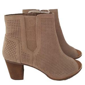 TOMS Deia Boots tan stucco suede peep-toe booties